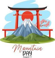 jour de montagne au japon le 11 août bannière avec mont fuji et porte torii vecteur