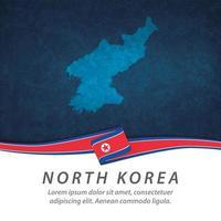 drapeau de la corée du nord avec carte vecteur