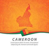 drapeau du cameroun avec carte vecteur