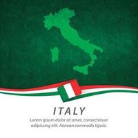 drapeau de l'italie avec carte vecteur