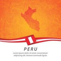 drapeau du Pérou avec carte vecteur