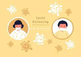 concept de distanciation sociale. garder la distance dans la société publique pour se protéger de la propagation de l'épidémie de coronavirus covid-19. vecteur
