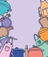 carte d'outils de cuisine vecteur