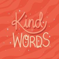 mots gentils lettrage sur fond rouge vecteur