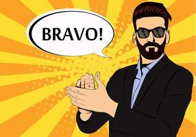 Homme d'affaires hipster barbe applaudissements bravo concept de succès style rétro pop art. Homme d'affaires à lunettes dans un style bande dessinée. Illustration vectorielle de succès concept.