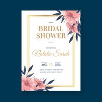 Modèle d'invitation de douche nuptiale florale aquarelle vecteur