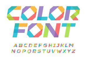 alphabet de style origami couleur pour livre pour enfants, morceaux de lettres en papier de couleur pour logo moderne, bannière et affiche. police colorée, lettres italiques lourdes. conception de typographie impressionnante. composition vectorielle vecteur