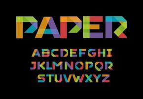 alphabet applique en papier de couleur, police d'art origami colorée. lettres d'autocollants d'affaires colorés, type géométrique minimal pour logo moderne, affiche, bannière, graphique de titres de flyer. conception de typographie vectorielle. vecteur