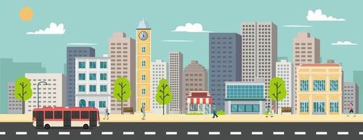paysage urbain et bâtiments de l'entreprise, minibus et van sur illustration vectorielle de rue.bâtiments commerciaux et arrêt de bus public dans la ville urbaine.smart avec fond de ciel vecteur