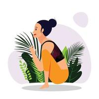 jeune fille pratiquant des poses de yoga assis, poses de yoga en guirlande, asana de yoga assis vecteur