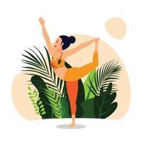 roi danseur pose nataraj asana, poses de yoga équilibre debout vecteur