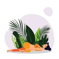 Jeune femme en tenue de sport orange pratiquant le yoga asana de torsion de la colonne vertébrale, fille de tête de corbeau pratiquant le yoga asana vecteur