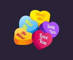 coeurs bonbons valentine vecteur