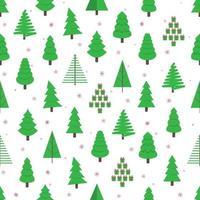 12 sapin de noël sans soudure vert sapin plat style design modèle illustration vectorielle. symbole de la fête de Noël en famille isolé sur fond blanc. enveloppe de vacances de forme simple, tissu ou texture. vecteur