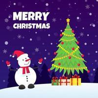 le bonhomme de neige avec chapeau, gants, sapin de noël et cadeaux présents. vecteur