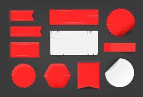 différentes étiquettes de papier et des autocollants ang des maquettes vectorielles vecteur