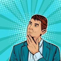 Homme d'affaires pensant. Illustration vectorielle dans un style bande dessinée rétro pop art