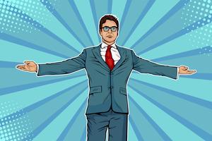 Homme d'affaires largement répandu ses bras comme un winneer. Rencontrer d'autres personnes. Domination et démonstration de succès. Illustration vectorielle dans un style bande dessinée rétro pop art