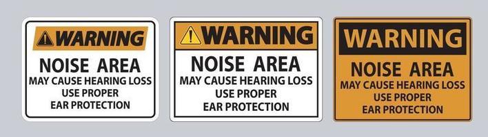 panneau d'avertissement la zone de bruit peut causer une perte auditive utiliser une protection auditive appropriée vecteur