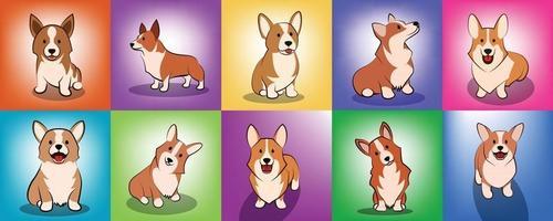 ensemble d & # 39; illustration vectorielle dessin animé mignon d & # 39; un chien chiot corgi vecteur