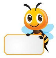 dessin animé mignon abeille pointant panneau blanc vide vecteur