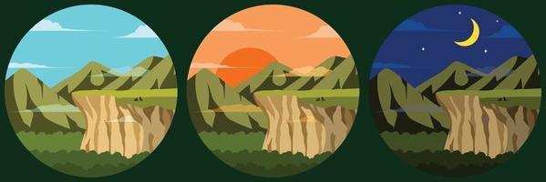 illustration d'une vue sur les montagnes et le ciel de la falaise il y a des loups se reposant sur la falaise il y a trois images qui sont trois fois le jour le coucher du soleil et la nuit vecteur
