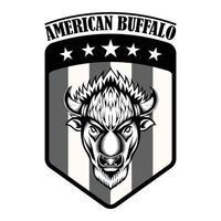 buffle de bison américain logo vintage sur l'emblème du drapeau américain vecteur