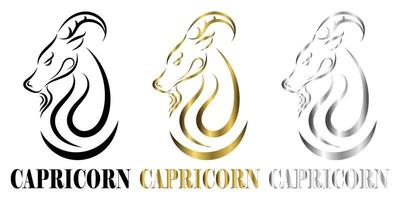 logo vectoriel de ligne de tête de chèvre c'est signe du zodiaque capricorne trois art il y a trois couleurs noir or argent
