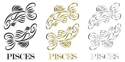 logo vectoriel de ligne de deux poissons c'est le signe du zodiaque des poissons il y a trois couleurs noir or argent