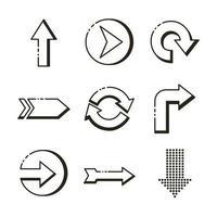 ensemble de flèches définir des icônes vecteur