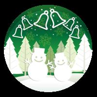 Noël rond illustration avec forêt, bonhommes de neige et cloches.