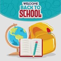 carte et crayon de livre de sac à dos d'éducation de retour à l'école vecteur