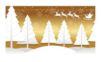 Illustration de Noël avec forêt d'hiver, Rennes et père Noël.