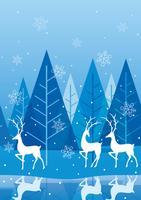 Fond de forêt hiver sans couture avec le renne.
