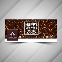 Modèle de bannière colorée de médias sociaux du nouvel an 2019 vecteur