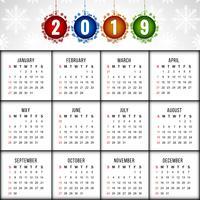 Abstrait élégant calendrier de la nouvelle année 2019