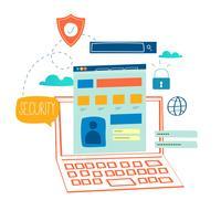 Sécurité en ligne, protection des données vecteur