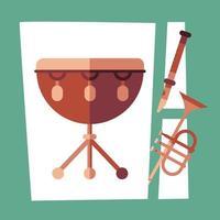 conception de vecteur d'instrument de flûte et de trompette de bouilloire