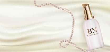 Bouteille de crème réaliste 3d sur soie blanche avec modèle de conception de perles de produits cosmétiques de mode pour les annonces, flyer, bannière ou fond de magazine. illustration vectorielle vecteur