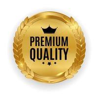 insigne de médaille d'or de qualité supérieure. joint d'étiquette isolé sur fond blanc. illustration vectorielle eps10 vecteur