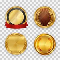 étiquette dorée abstraite avec ensemble de collection de modèles de ruban rouge. illustration vectorielle vecteur