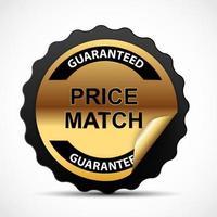 garantie de correspondance de prix modèle de signe d'étiquette d'or illustration vectorielle vecteur