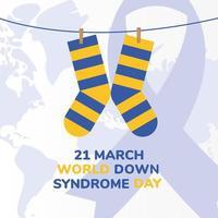 chaussettes rayées de la journée mondiale de la trisomie 21 conception vectorielle suspendue vecteur