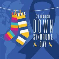 chaussettes et ruban rayés de jour de syndrome de down sur la conception de vecteur de fond de carte du monde