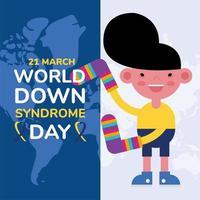 affiche de la campagne de la journée mondiale du sindrome avec un petit garçon et des chaussettes sur des cartes de la terre vecteur