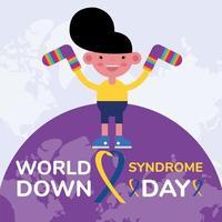 affiche de la campagne de la journée mondiale du sindrome avec un petit garçon soulevant des chaussettes sur la planète terre vecteur
