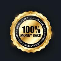 vecteur 100 satisfaction garantie étiquette sur fond noir