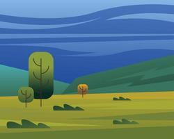 paysage de conception de vecteur d'arbres et d'arbustes