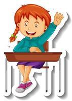 modèle d'autocollant avec un personnage de dessin animé de fille isolé vecteur