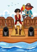 concept de pirate avec un personnage de dessin animé de garçon marchant sur la planche sur le navire isolé vecteur